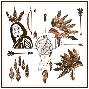 Set of ethnic style. Dreamcatcher. Indian colored decorative components. Isolated arrows, feathers, beads, bow, injun. The design concept. Isolated vector illustration
