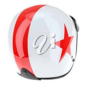 White sports helmet with stripes and rubber insert. 3D graphic object on white background isolated