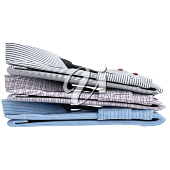 Set of classic men's shirts and ties, side view. 3D graphic object on white background isolated