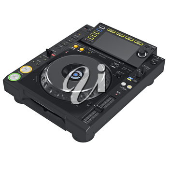 Dj mixer music digital equipment with large screen. 3D graphic