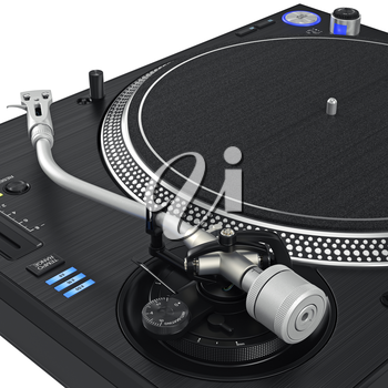 Vinyl needle dj turntable with chrome elements. 3D graphic, close view. 3D graphic