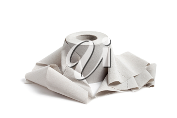 Single toilet paper isolated on a white background