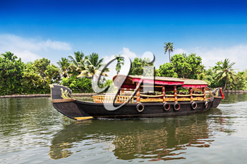 Beauty boat in the backwaters, Kerala, India