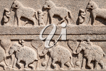 Very old carving on the temple, India