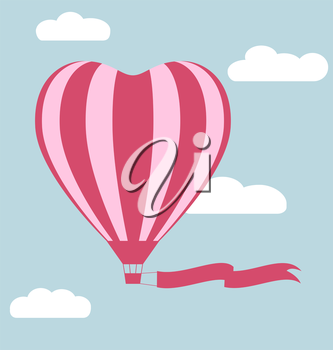 Flat hot air balloon in the shape of a heart with flag isolated on sky background