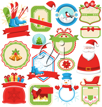Set of Christmas Winter Lables Icons Flat Collection Isolated on White Background