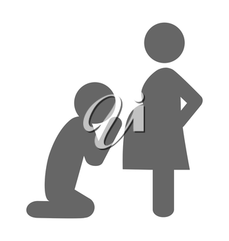 Pregnant woman and her husband pictogram flat icon isolated on white background