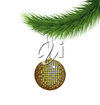 Golden Christmas ball on pine branch isolated on white background