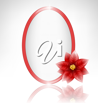Oval glassy frame with glassy flower of poinsettia and reflection on grayscale background