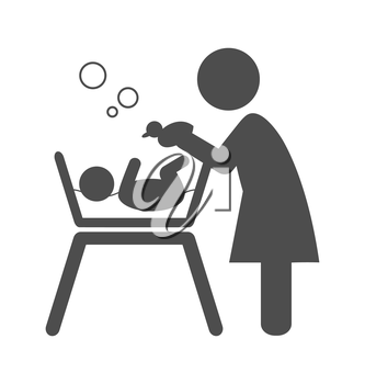 Mother bathes the baby pictogram flat icon isolated on white background