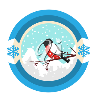 Christmas Winter and New Year Label Icon with Bullfinch and Mountains Isolated on White Background