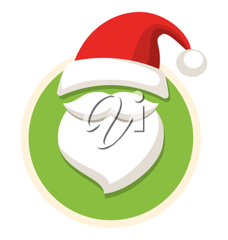 Circle Christmas Label Icon Flat with Santa Hat and Beard Isolated on White Background