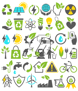 Eco Friendly Bio Green Energy Sources Icons Signs Set Isolated on White Background