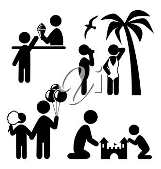 Summertime pictograms flat people icons isolated on white background