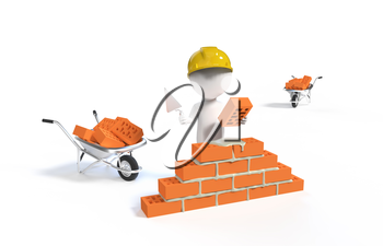 Small person - builder in the helmet with a shovel and bricks isolated on white bacground