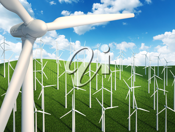 Many wind turbines in the sky and grass background