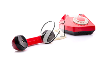 Red telephone with handset in front