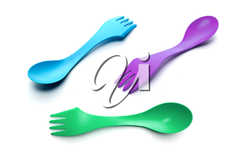 Three plastic spoon-forks isolated on white