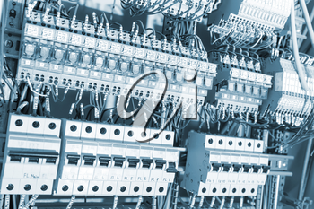 Electrical supplies toned in blue image