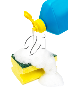 dishwashing liquid bottle and sponge covered with foam