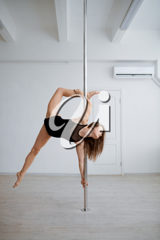 Sexy woman practice pole dance, workout in class. Girls with perfect body shows excellent stretching. Professional female dancers exercising in gym, pole-dancing