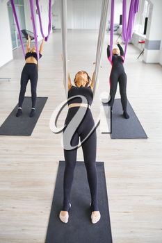 Aerial or anti-gravity yoga, group training, hanging on hammocks. Fitness, pilates and dance exercises mix. Women on yogi workout in gym, fit lifestyle
