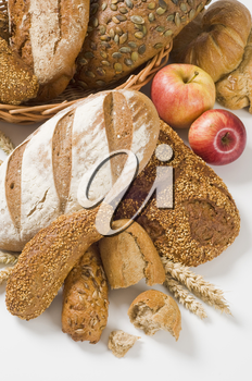 Various types of bread and rolls - studio