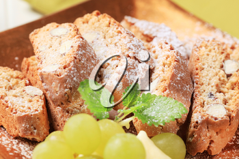 Detail of traditional Italian almond biscotti