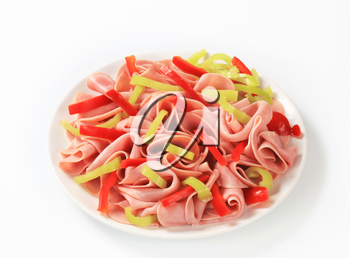 Thinly sliced ham and strips of fresh pepper