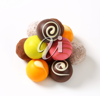 Assorted chocolate truffles and fruit ganache pralines