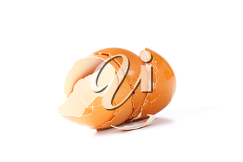 Empty brown egg shells on white background
