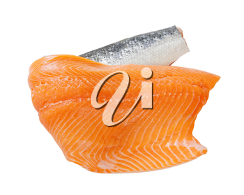 Raw salmon fillet isolated on white