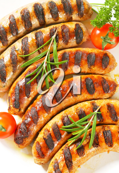 Detail of grilled German sausages