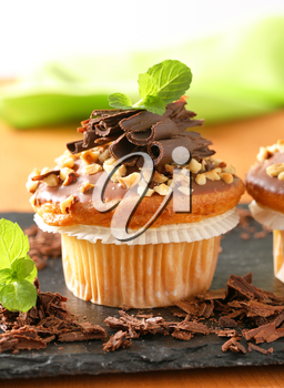 Hazelnut muffin with chocolate topping