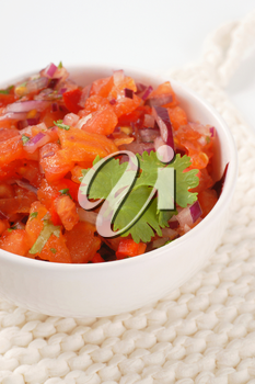 bowl of pico de gallo, also called salsa fresca
