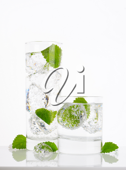 fresh water with ice and mint on white background