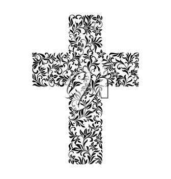 The Cross from a floral ornament on a white background.