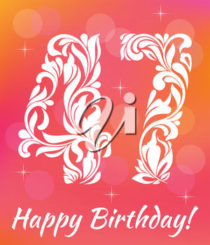 Bright Greeting card Template. Celebrating 47 years birthday. Decorative Font with swirls and floral elements.