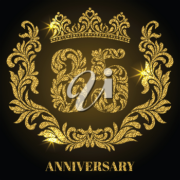Anniversary of 85 years. Digits, frame and crown made in swirls and floral elements with gold glitter and sparkle