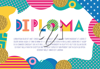 DIPLOMA. Trendy geometric font in memphis style of 80s-90s. Rectangular frame from abstract geometric elements