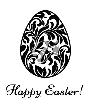 Happy Easter. Easter egg made of swirls and floral elements isolated on a white background
