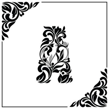 The letter A. Decorative Font with swirls and floral elements. Vintage style