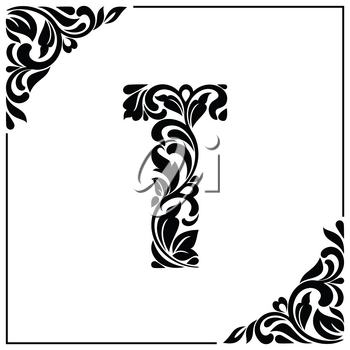 The letter T. Decorative Font with swirls and floral elements. Vintage style