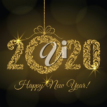 Happy New Year 2020. Decorative Font made of swirls and floral elements. Golden glitter Numbers and Christmas wreath with sparks on a dark background and bokeh.