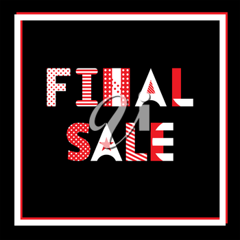 Final Sale. Trendy geometric font in memphis style of 80s-90s. Template for banner or poster.
