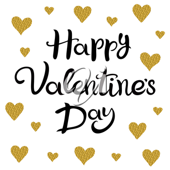 Happy Valentines Day. The inscription isolated on a white background with golden hearts. Suitable for greeting card, banner, poster