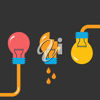 Three flat bulb. Vector design.