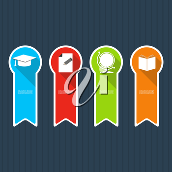 Four colored icons depicting items for education.