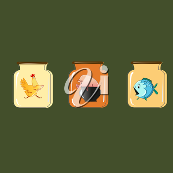 Set of containers for preservation. Vector design.