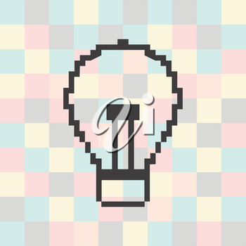 Vector pixel icon light on a square background.